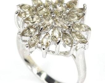 Sterling Silver Smokey Quartz Gemstone Ring  Size 7.5