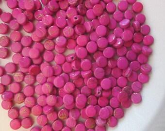 SALE - Fuschia and Gold Flat Acrylic Beads 8mm 30 Beads