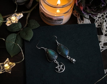 Hekate • Asymmetrical labradorite stone earrings in sterling silver setting and witchy charms