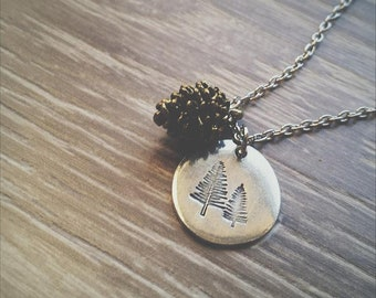 Pewter Pine tree Pendant with Brass Pine Cone