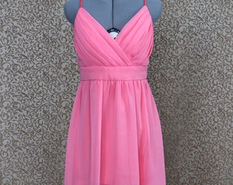 Short Asymmetrical Pink Chiffon Crossover Party Dress