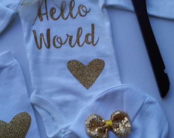 Hello World Baby Outfit Hello World Newborn Outfit Unique Baby Shower Gift Personalized Coming Home Outfit Winter Personalized baby gifts