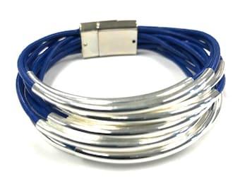 Wrap Bracelet, Blue, Tube Bracelet, Leather Bracelet | Tube Bead,  Noodle Bead | Leather Jewelry | Gift for Her | Genuine Blue Leather