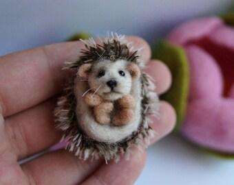 Needle felted hedgehog miniature soft sculpture felted miniature animal