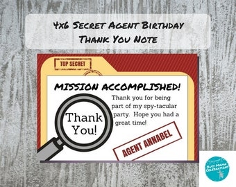Secret Agent Thank You Notes, Spy Birthday Party , Detective Party Invitation, Mystery Party Thank You, Top Secret Birthday