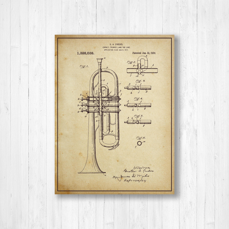 Trumpet, Patent, Music, Old Patent, Invention, Vintage Patent ...