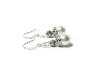 White Pearl Earrings  ,  Swarovski Pearls , Gift For Her , Sterling Silver  Earrings , Crystal Pearls