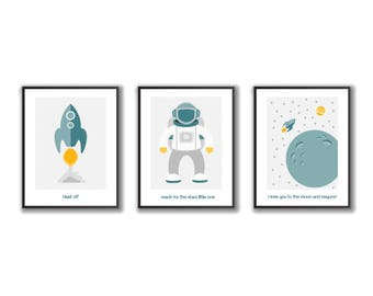 Nursery wall art, Space, Outer Space, Set of 3 images to download, Instant download, Kids Wall Art, Kids Room Art, Digital Download