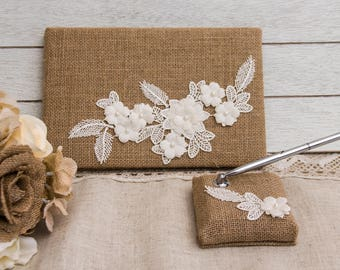 Wedding Guest Book Burlap and Lace Guest Book Rustic Guest Book Rustic Wedding Guest Book Burlap Wedding Guest Book Pen Holder