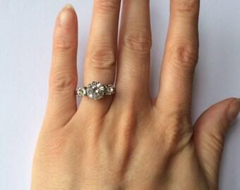 Art Deco Three Stone Ring - Chrome & Paste - Vintage 1930s - Proposal Engagement