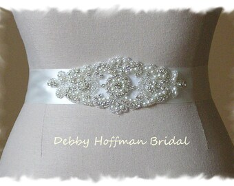 Jeweled Pearl Wedding Belt, Rhinestone Bridal Belt, Pearl Bridal Sash, Pearl Crystal Wedding Dress Belt, Jeweled Wedding Sash, No. 3080S1.5