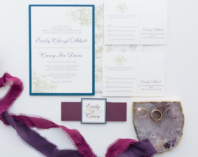 Elegant Formal Traditional Floral Flowers Wedding Invitation in Navy, Burgundy & Gold with Enclosure Band/Monogram - Multiple Color Options!