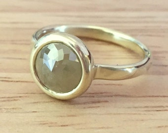 Diamond Engagement Ring in 14k Green Gold with Large Green Rose Cut Diamond, Size 5.5