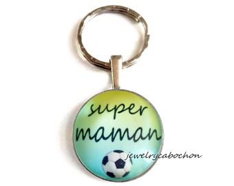 "Keychain ""super maman"" football"