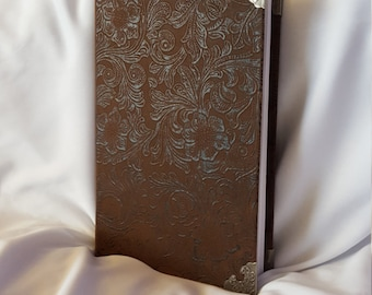 Brown Faux Leather Journal with Metal Corner Tips