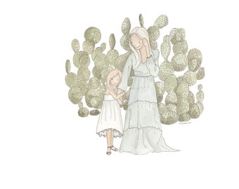Mom amd me with cacti Greeting Card