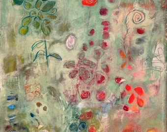 acrylic painting floral on paper expressionist flower garden 3 original unframed