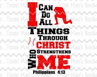 I Can Do All Things Baseball SVG, DXF, EPS, Instant Download, Digital Design, Baseball, Baseball Mom Shirt, Boys Shirt, Religious Shirt
