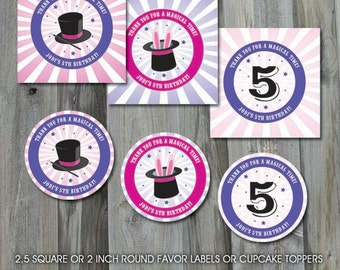 Magic Birthday Party - Personalized, DIY Party Printable, Favor Labels or Cupcake Toppers, Custom