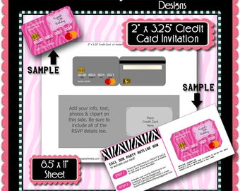 Credit Card Invitation Template with EDITABLE Text is in PSD and PNG Formats (Temp739) For Commercial Use Blank Digital Template