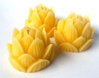Lotus Flower 100% Beeswax Candle - 3 pack