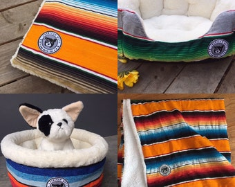 Hand-stitched dog bed mexican blanket covering