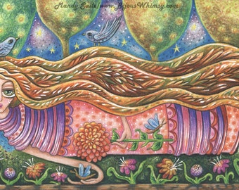 """Play Lightly - an 8 x 10"""" ART PRINT of a beautiful flowing nature goddess as she gently floats about the earth with a delicate caring hand"""