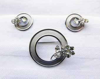 Mid-Century Star Art sterling silver and rhinestone brooch and earrings demi parure