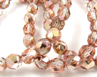 Apollo Gold 6mm Facet Round Czech Glass Fire Polished Beads #1801