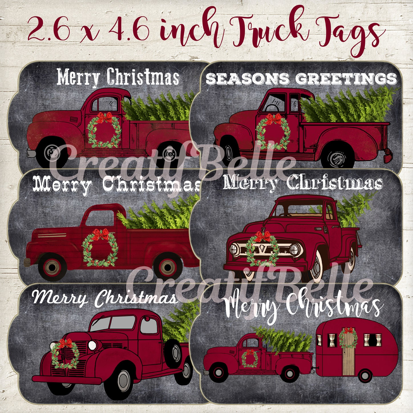 6 26 x 46 inch red truck christmas tree tags instant zoom kristyandbryce Choice Image