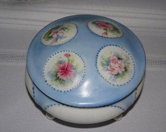 Vintage Baby Blue Trinket Dish, Bowl, Porcelain, Hand Painted Porcelain, Sweet Dainty, Spring Time Flowers, Pink Flowers, Signed M. Jones