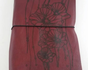 Genuine Leather Travel Journal with Poppy Print