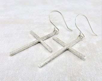 Silver Earrings ~ Christian Earrings ~ Dangle Earrings ~ Cross Earrings ~ Religious Earrings ~ Minimalist Earrings ~ Sterling Earrings