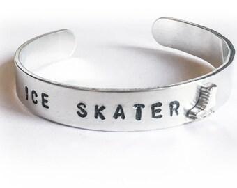 ICE SKATER BRACELET Silver Stamped Figure Skating Charm Bracelet