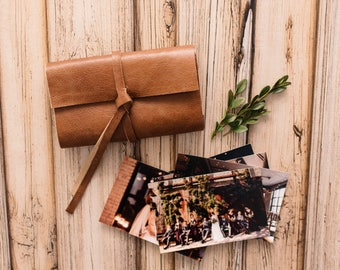 """HONEY Leather Print Wrap   Leather Photo Wallet Case l client gift for wedding photographers   4x6"""" or 5x7"""" photos   Fits USB drives too"""