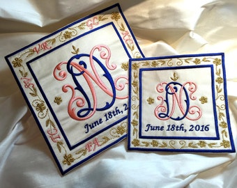something blue embroidered wedding dress label blue pink gold french silk satin bridal ivory cream shower wedding patch large or small