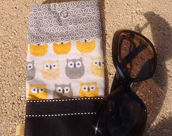 Yellow black owls OWL glasses case