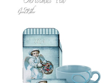 Printable Christmas  Angels Teabag slips and Tea box DIY victorian decor instant gift craft project