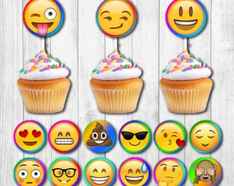 INSTANT DOWNLOAD - Emoji Cupcake Toppers Printable, Emoji Cupcake Toppers, Emoji Birthday Favors, Emoji Party Supplies, Emoji Theme