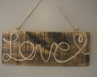 Rustic Love Signs, Rustic Wall Decor, Rustic Home Decor, Rustic Wall Hung Decor, Rustic Twine Love, Wall Hung Twine Love Sign, Rustic Sign