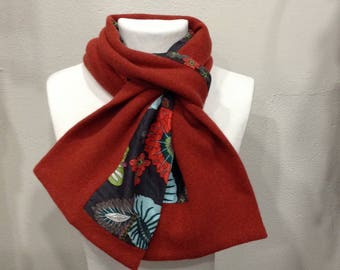 Orange brick and cotton wool scarf designer woman