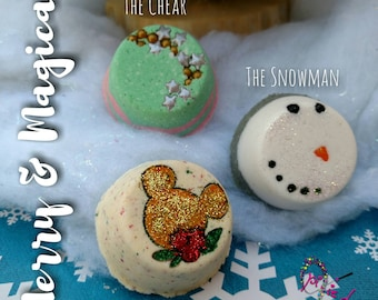 Merry & Magical mini bath bomb set, Mickey, Christmas, Holiday, Snowman, Mouse
