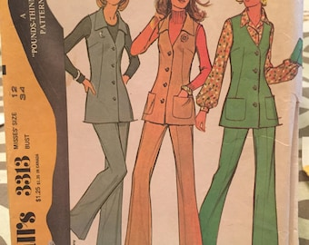 Vintage McCall's pattern 3313 misses' vest and pants size 12