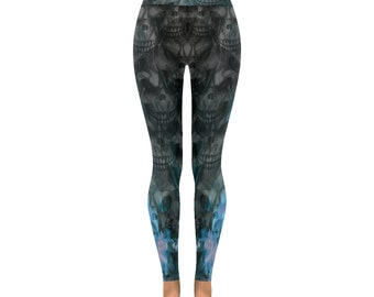 Skull Leggings Blue Flame Skull Print Leggings All Over Print Leggings For Women Custom Printed Artist Designed FREE SHIPPING