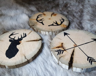 Rustic Hand Painted Reclaimed Wooden Coasters