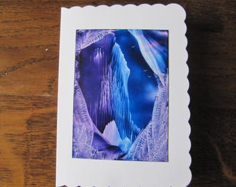 Frozen cliffs original Encaustic Painting greeting card