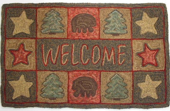 "Rug Hooking Pattern, Northwoods Welcome 22"" x 36"", J778"