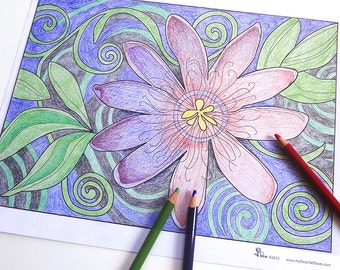 passion flower art coloring page, printable adult coloring sheet, instant download