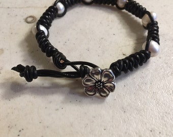 Black Bracelet - Macrame Jewelry - White Pearl Gemstones - Leather - Fashion - Trendy - Beaded - Silver Button