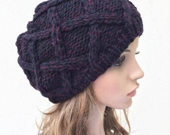 Hand Knit Hat woman hat winter hat wool Beret Hat Black red Beanie